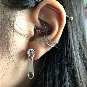 Silver plated zipper earrings